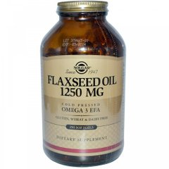 Льняное масло, Flaxseed Oil, Solgar, 1250 мг, 250 гелевых капсул - фото