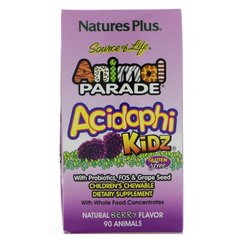 Пробиотики для детей, AcidophiKidz, Nature's Plus, Source of Life Animal Parade, ягодный вкус, 90 животных - фото