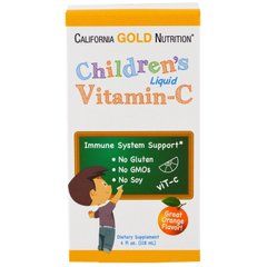 Витамин C для детей, Children's Vitamin C, California Gold Nutrition, жидкий, 118 мл - фото