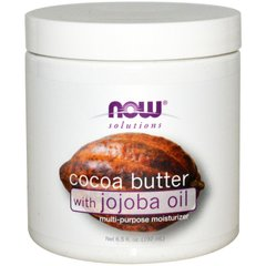 Масло какао с маслом жожоба (Cocoa Butter, Jojoba Oil), Now Foods, Solutions, 192 мл - фото