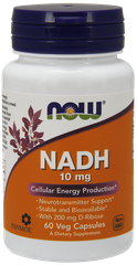 НАДН, NADH, 10 мг, Now Foods, 60 капсул - фото