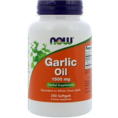 Масло Чеснока, Garlic Oil Concentrate, 1500 мг, Now Foods, 250 капсул - фото