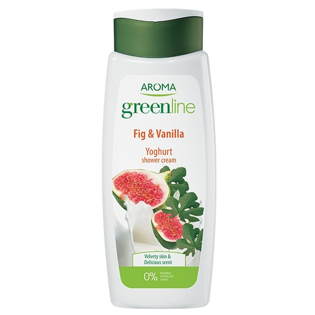 Крем-гель для душа Greenline Shower cream YOGHURT Vanilla & Fig, 400 мл