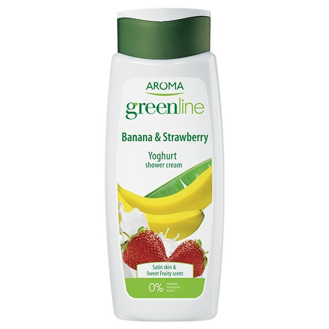 Крем-гель для душа Greenline Shower cream YOGHURT Banana & Strawberry, 400 мл