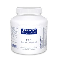 Масло примулы вечерней, E,P,O, (evening primrose oil), Pure Encapsulations, 250 капсул - фото