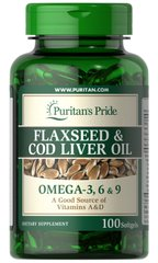 Комплекс Омега 3, 6, 9, Flaxseed & Cod Liver Oil, Omega 3, 6 & 9, Puritan's Pride, 1000 мг, 100 гелевых капсул - фото