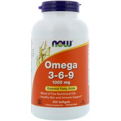 Омега 3 6 9, Omega 3-6-9, Now Foods, 1000 мг, 250 гелевых капсул - фото