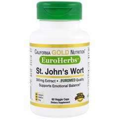 Зверобоя экстракт, St. John's Wort, EuroHerbs, 300 мг, California Gold Nutrition, 60 капсул - фото