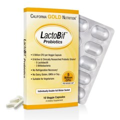 Пробиотики, LactoBif Probiotics, California Gold Nutrition, 5 млд, 10 капсул - фото